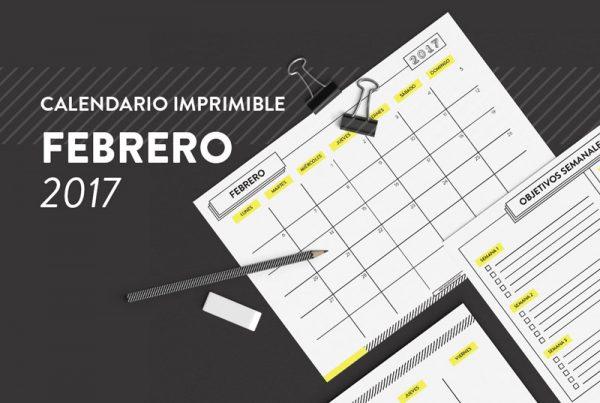 CALENDARIO IMPRIMIBLE FEBRERO 2017