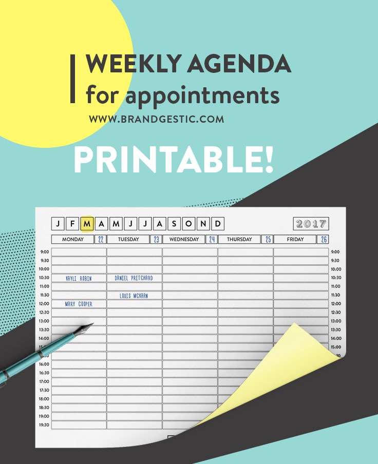 Free Printable Weekly Agenda With Week Days For 2017 | Ideal For