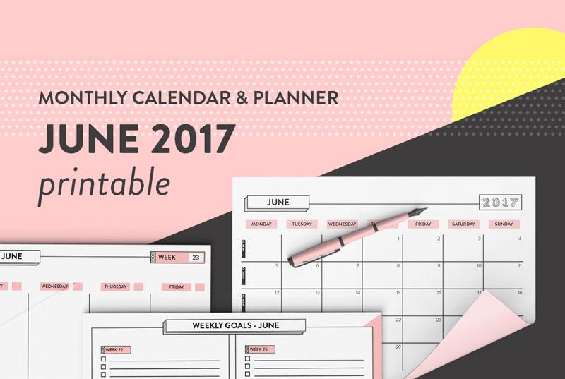 free printable calendar june 2017 monthly weekly daily planner