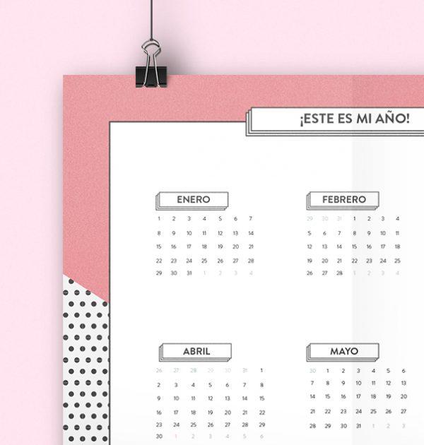 Calendario anual en A3 para imprimir