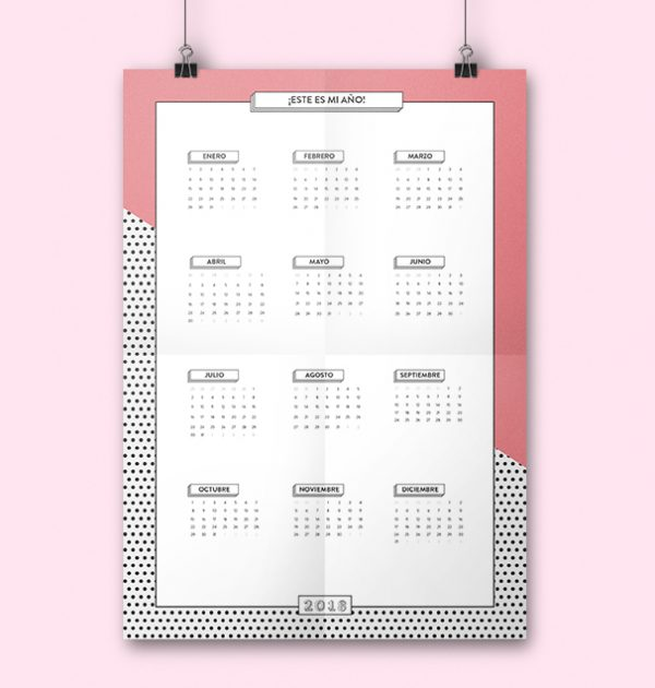 Calendario anual en A3 imprimible