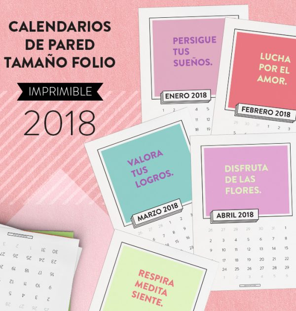 calendario mensual de pared 2018