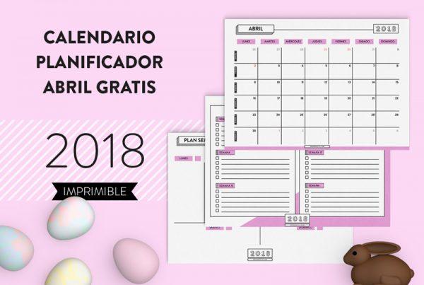 calendario planificador abril 2018