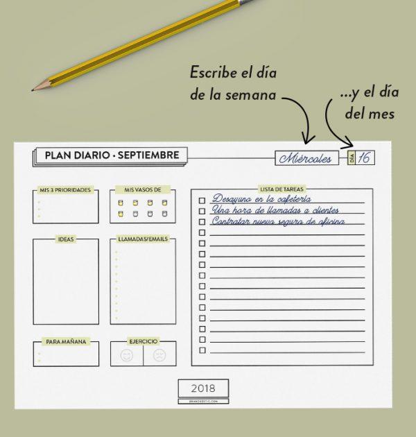 Planificador diario escolar