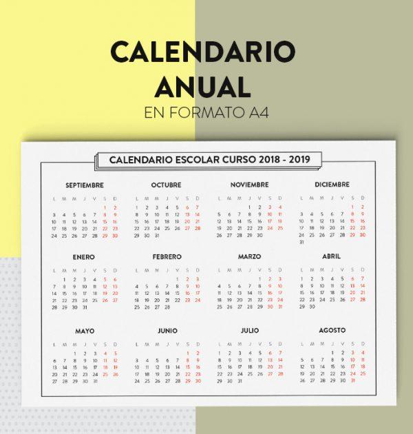 Calendario anual septiembre 2018 agosto 2019