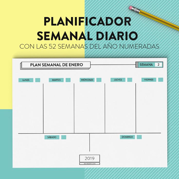 Calendario Diario Para Imprimir 2019.Planificador Calendario 2019 Imprimible Y Gratis